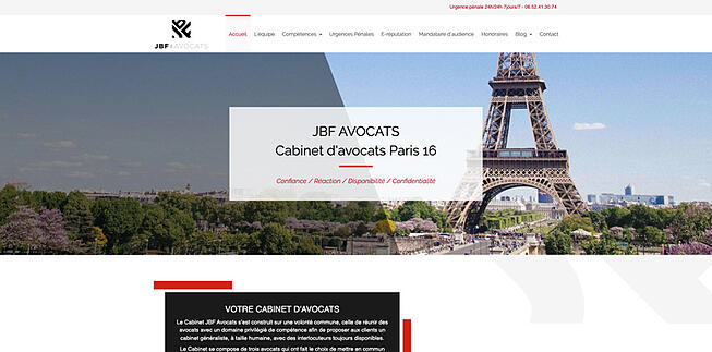 JBF Avocat Paris 16 exemple site web