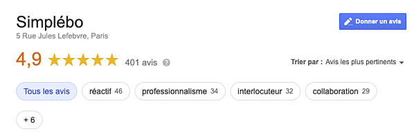 Capture googleMyBusiness avis référencement local Simplebo