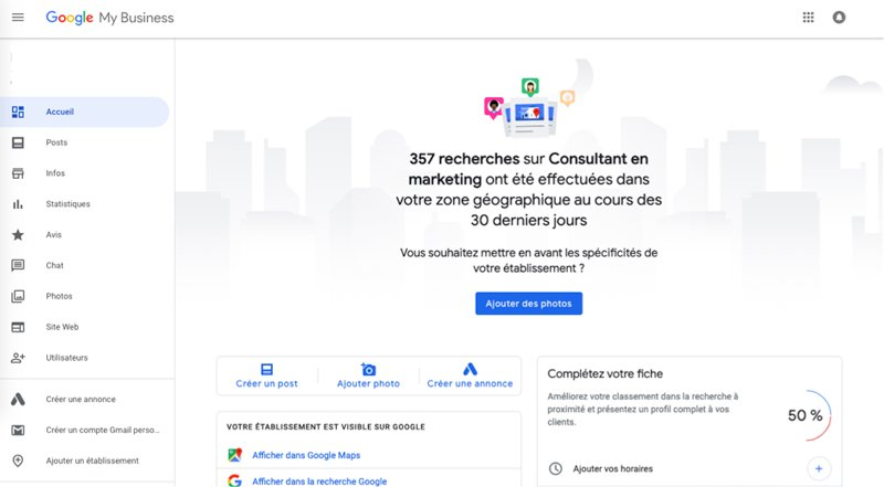 Tableau de bord fiche Google My Business Maps