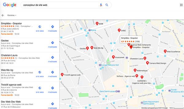 Recherche locale avis google maps