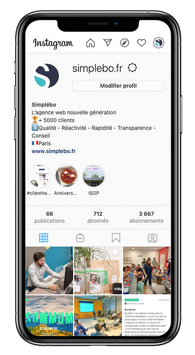 Exemple instagram compte professionnel simplebo