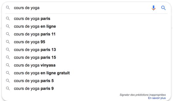google suggest choisir mots clés