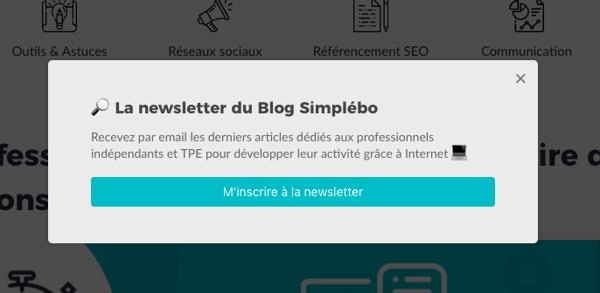 Popup formulaire email newsletter efficace blog
