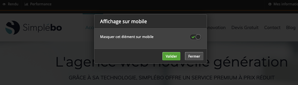 Outil simplebo affichage elements site mobile