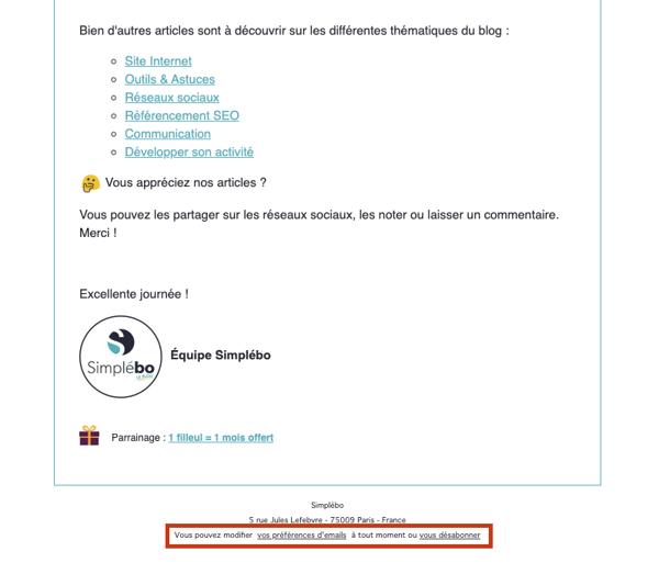 Desinscription email prospection Blog-Simplebo