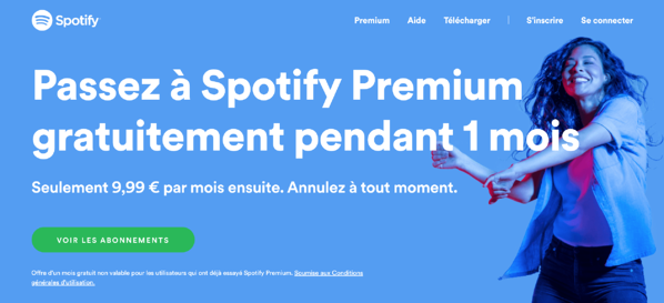 exemple spotify cta bouton action site web