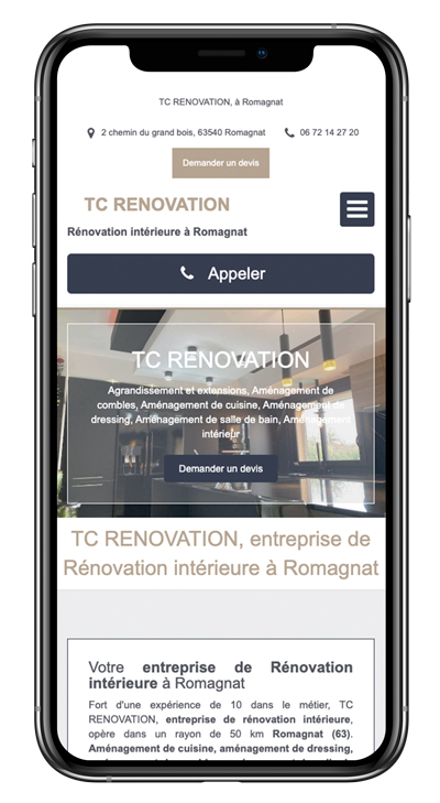 Exemple site internet artisan TC Renovation mobile