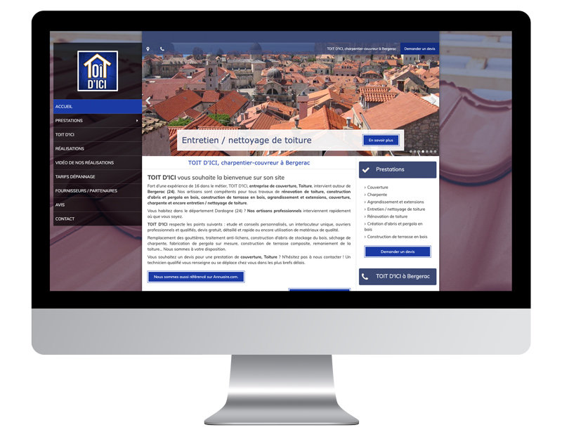 Exemple site internet artisan toit ici