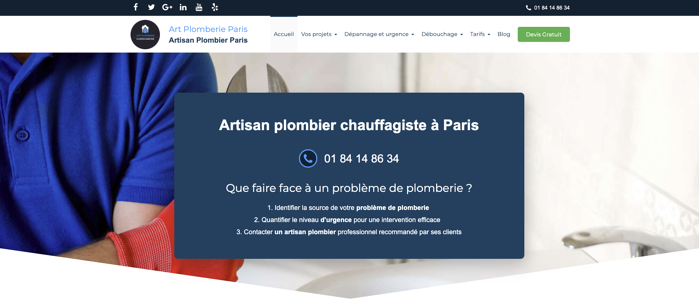 plombierparis exemple site internet artisan