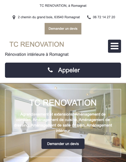 Mobile TC Renovation exemple meilleur site internet artisan