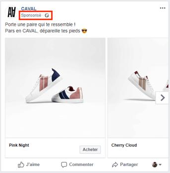 Exemple publicité facebook page professionnelle