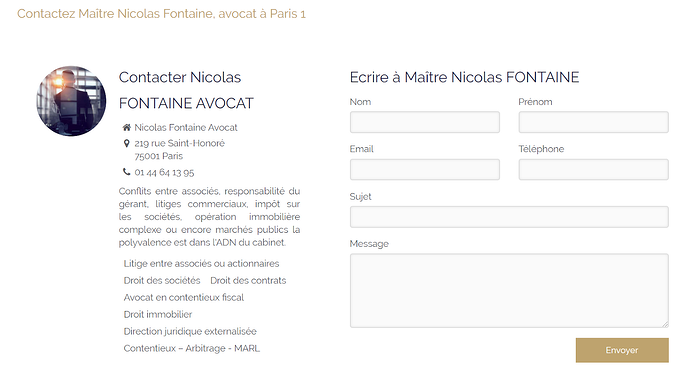 exemple page contact site internet avocat