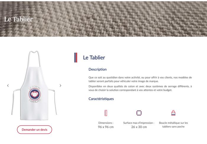 Exemple tablier image site internet produits coton