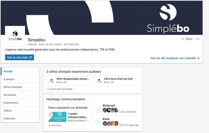 Page LinkedIn Pro Simplebo