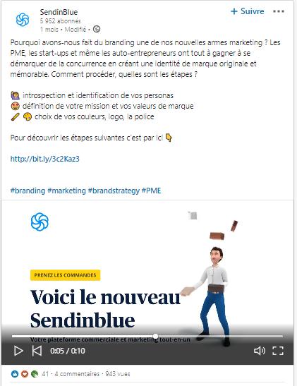 Post Sendinblue page professionnelle Linkedin