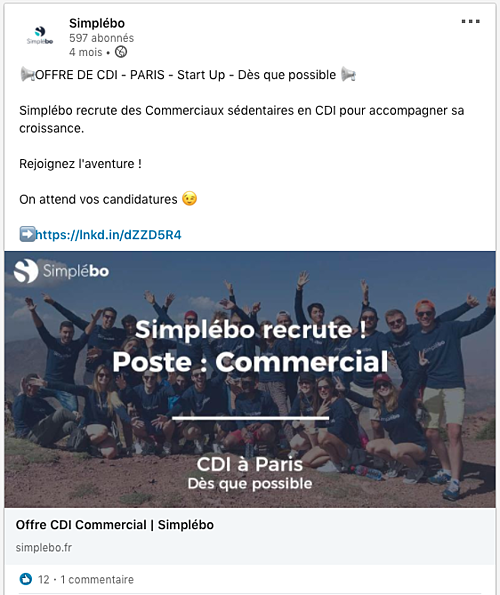 Recrutement page linkedin professionnelle simplebo