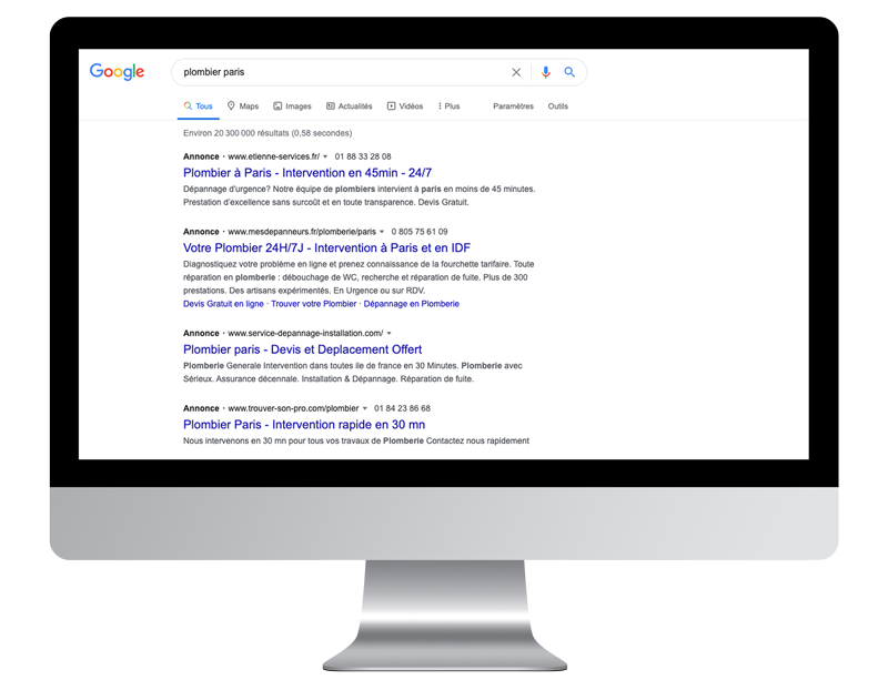 schema serp referencement payant apparaitre google ads