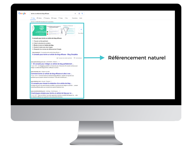 schema seo referencement naturel apparaitre google
