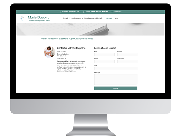Exemple site internet vitrine osteo