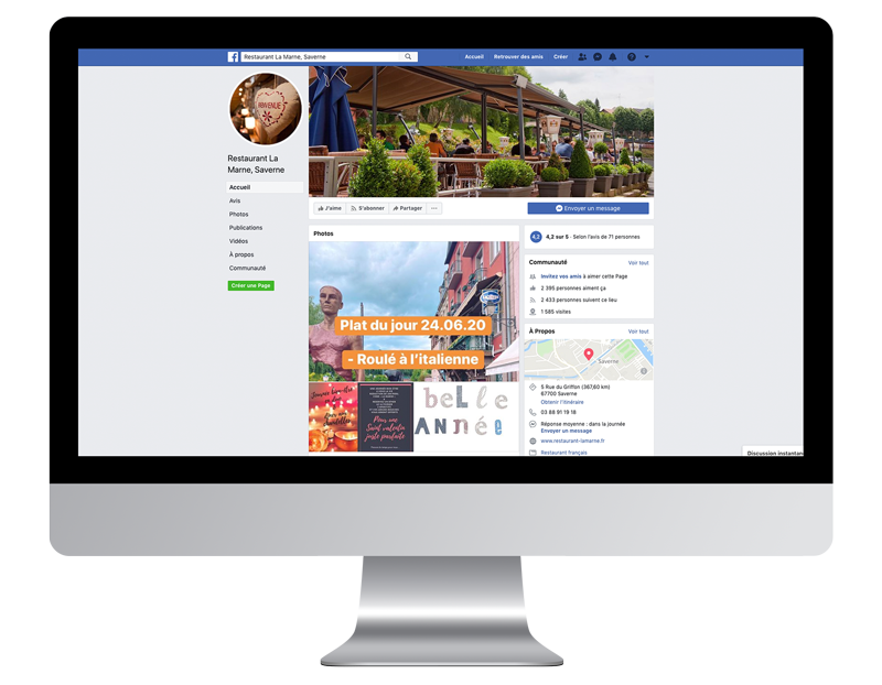 Facebbok laMarne creer site web pro