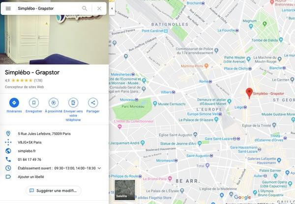 fiche entreprise Google Maps Simplébo