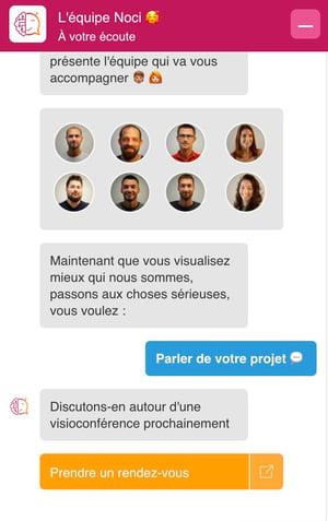 Exemple chatbot site web noci