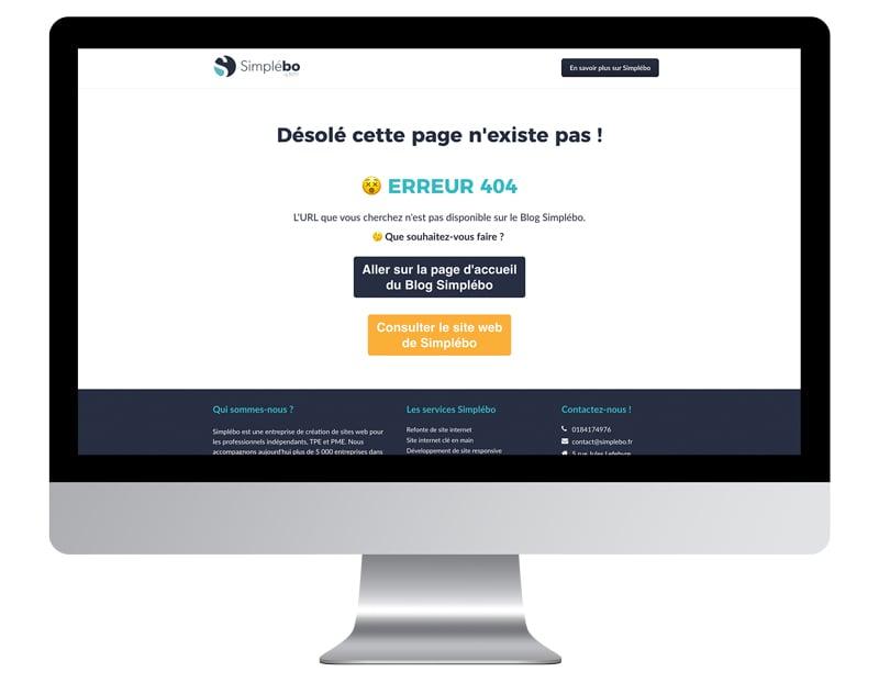 Capture erreur404 création site internet professionnel