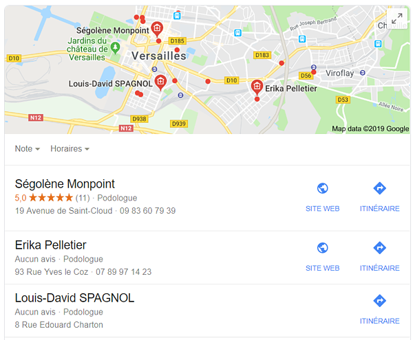 carte google maps professionnel sante